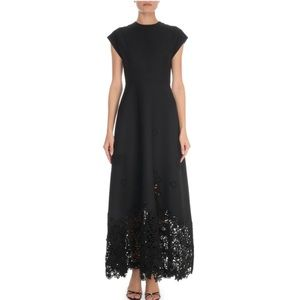 Valentino Crepe Couture Macrame-Hem Gown